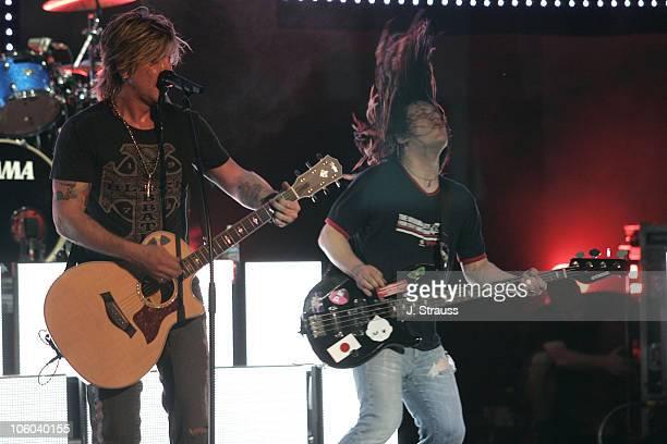 Johnny Rzeznik and Robby Takac of Goo Goo Dolls during Goo Goo Dolls Performs Live at Verizon Wireless Amphitheater June 30 2006 at Verizon Wireless...