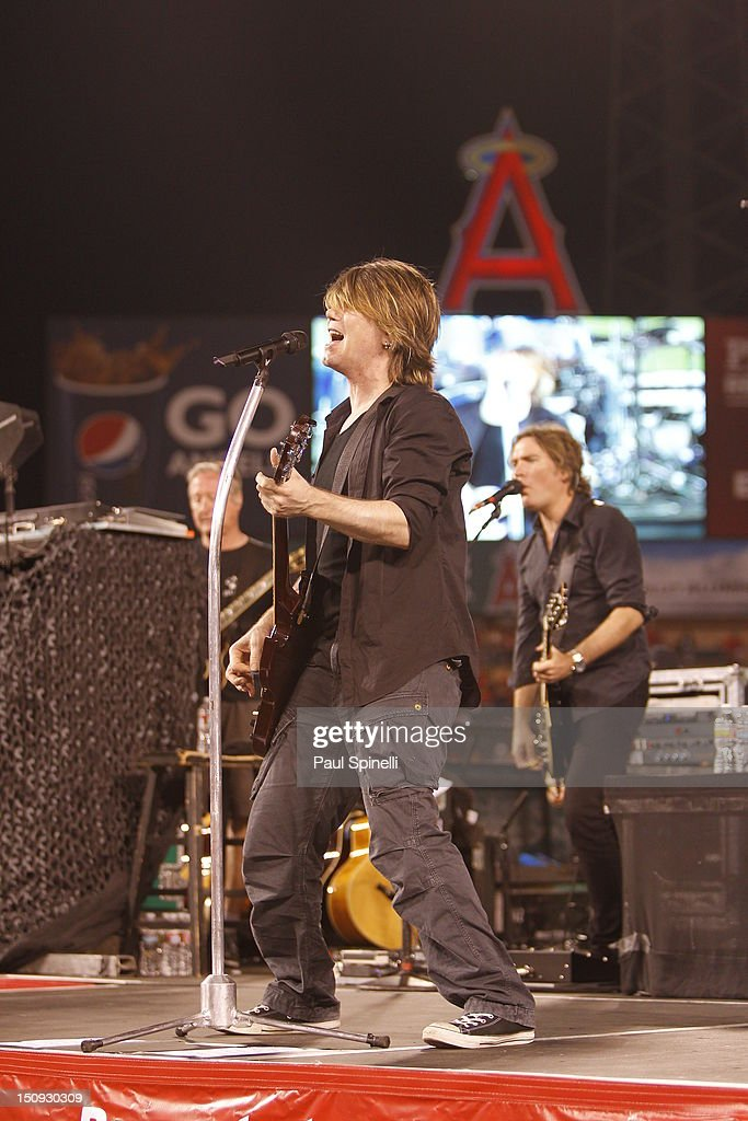 Johnny Rzeznik singer and lead guitarist of the Goo Goo Dolls performs during a concert after the Los Angeles Angels of Anaheim game against the Tampa Bay Rays on July 28, 2012 at Angel Stadium in Anaheim, California. The Rays won the game 3-0.
