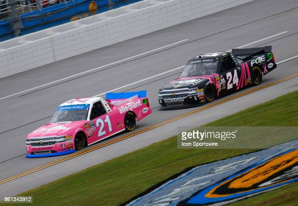 Johnny Sauter Allegiant Travel Chevrolet Silverado leads Justin Haley Chevrolet Silverado during the Fred's 250 NASCAR Camping World truck race on...