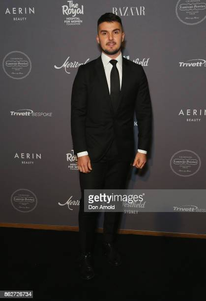 Johnny Schembri arrives ahead of BAZAAR in Bloom at The Ivy on October 18 2017 in Sydney Australia