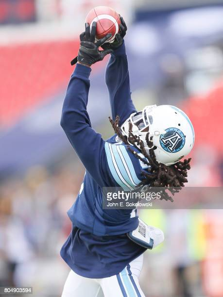 Johnny Sears Jr #0 of the Toronto Argonauts catches a pass during the warmup of a CFL game at BMO Field on June 25 2017 in Toronto Ontario Canada...