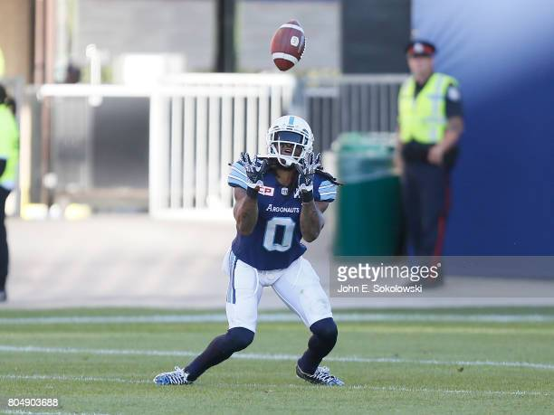 Johnny Sears Jr #0 of the Toronto Argonauts goes to catch a punt against the Hamilton TigerCats during a CFL game at BMO Field on June 25 2017 in...