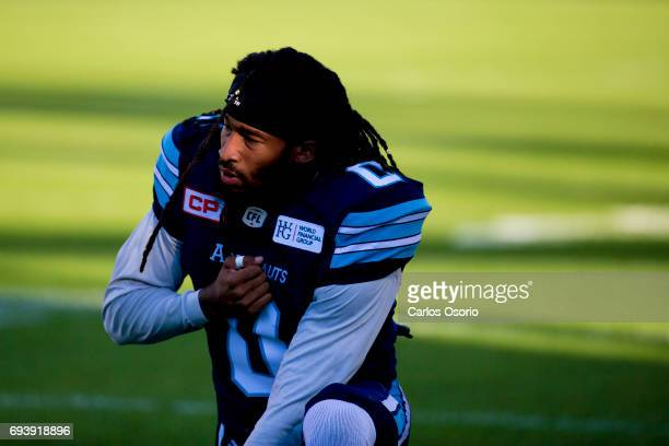 TORONTO ON JUNE 8 Johnny Sears Jr of the Argos prays before the first half of CFL pre season action as the Toronto Argonauts host the Montreal...