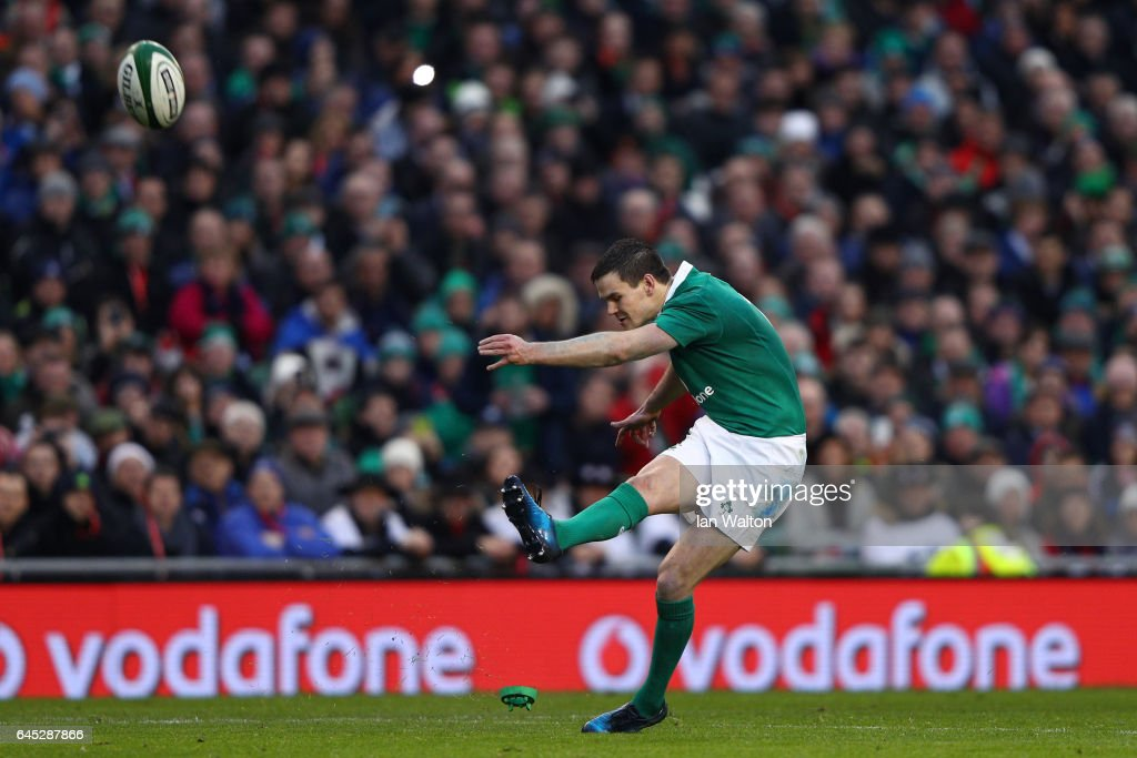 Johnny Sexton of Ireland kicks a conversion during the RBS Six Nations match between Ireland and France at the Aviva Stadium on February 25, 2017 in Dublin, Ireland.