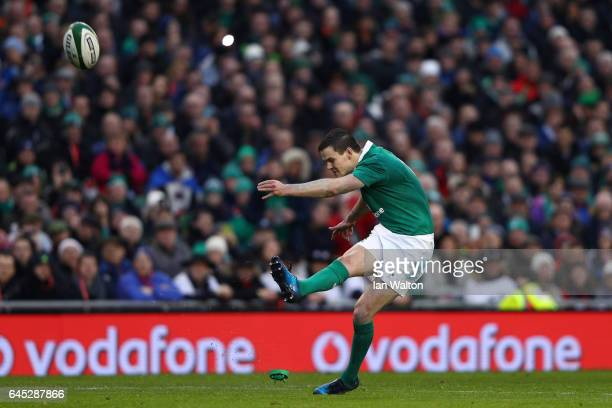 Johnny Sexton of Ireland kicks a conversion during the RBS Six Nations match between Ireland and France at the Aviva Stadium on February 25 2017 in...