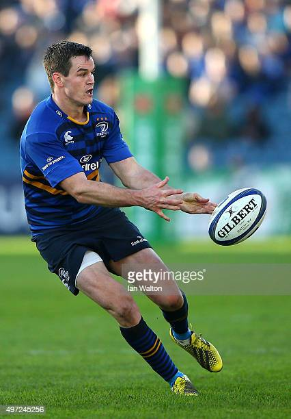 Johnny Sexton of Leinster in action during the European Rugby Champions Cup match between Leinster Rugby and Wasps at the RDS Arena on November 15...