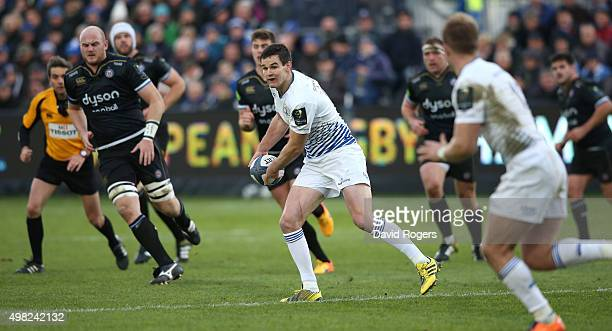 Johnny Sexton of Leinster passes the ball during the European Rugby Champions Cup match between Bath and Leinster at the Recreation Ground on...