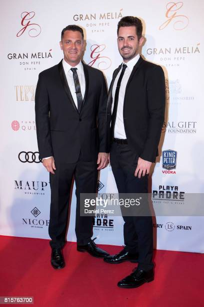Johnny Shetall Lee and Spencer Matthews attend the Global Gift Gala 2017 red carpet at Gran Melia Don pepe Resort on July 16 2017 in Marbella Spain