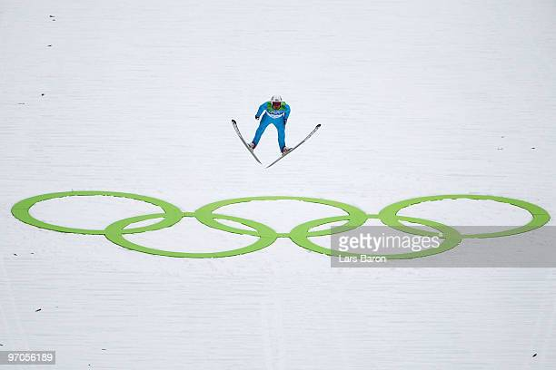 Johnny Spillane of the United States competes during the Nordic Combined Individual Large Hill Ski Jump on day 14 of the 2010 Vancouver Winter...