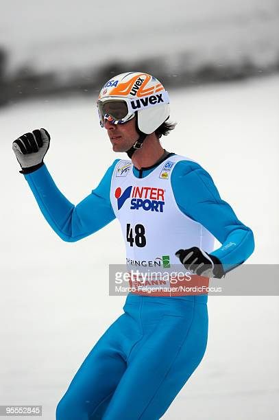 Johnny Spillane of the USA competes in the Gundersen Ski Jumping HS 140 event during day two of the FIS Nordic Combined World Cup on January 3 2010...