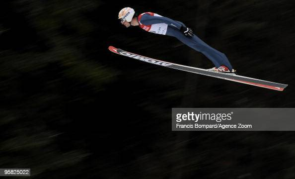 Johnny Spillane of the USA in action during the DKB Nordic Combined FIS World Cup Gundersen HS100/10 km on January 17 2010 in ChauxNeuve France