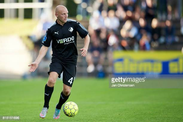 Johnny Thomsen of Randers FC controls the ball during the Danish Alka Superliga match between SonderjyskE and Randers FC at Sydbank Park on July 15...