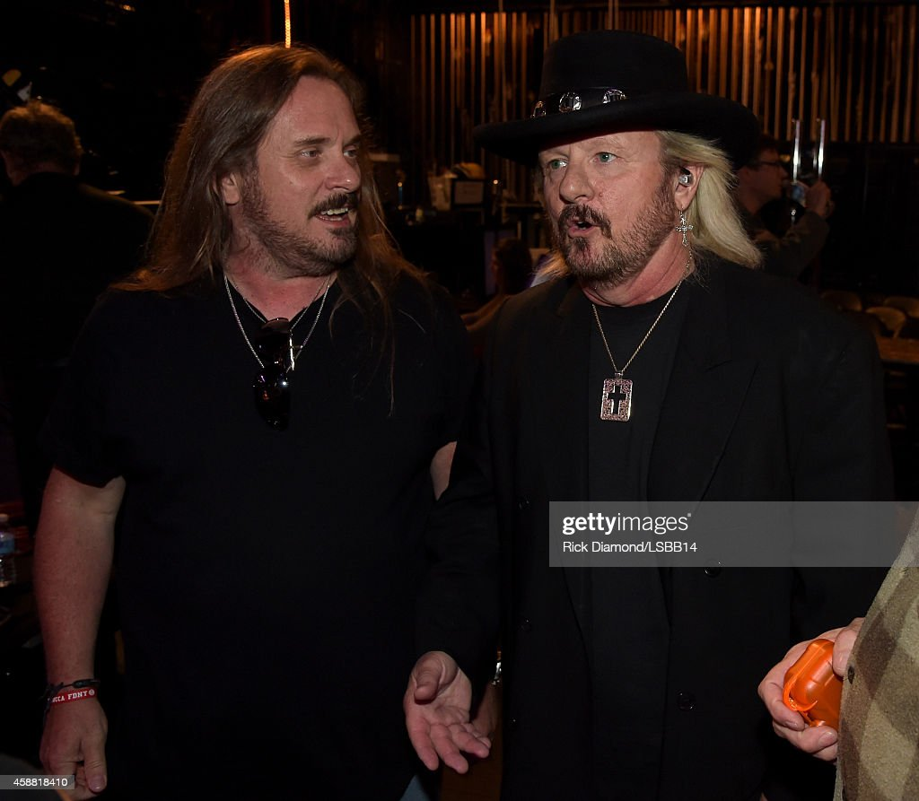 <a gi-track='captionPersonalityLinkClicked' href=/galleries/search?phrase=Johnny+Van+Zant&family=editorial&specificpeople=213799 ng-click='$event.stopPropagation()'>Johnny Van Zant</a> and <a gi-track='captionPersonalityLinkClicked' href=/galleries/search?phrase=Donnie+Van+Zant&family=editorial&specificpeople=226742 ng-click='$event.stopPropagation()'>Donnie Van Zant</a> speak backstage at the rehearsals for One More For The Fans! - Celebrating the Songs & Music of Lynyrd Skynyrd at The Fox Theatre on November 11, 2014 in Atlanta, Georgia.