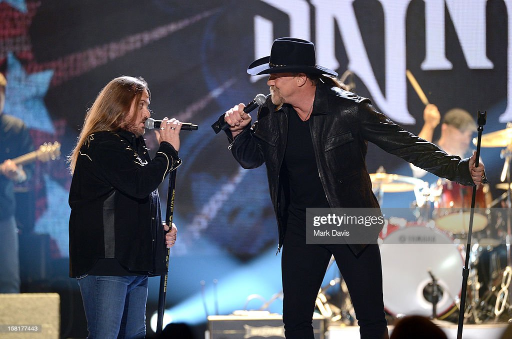 Johnny Van Zant of Lynyrd Skynyrd (L) and singer and co-host Trace Adkins perform onstage during the 2012 American Country Awards at the Mandalay Bay Events Center on December 10, 2012 in Las Vegas, Nevada.