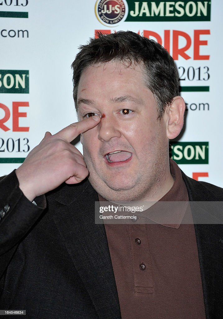 Johnny Vegas is pictured arriving at the Jameson Empire Awards at Grosvenor House on March 24, 2013 in London, England.
