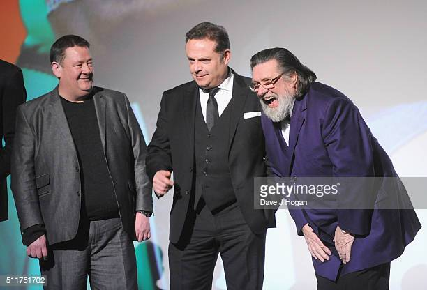 Johnny Vegas John Thompson and Ricky Tomlinson attend the World premiere of 'Grimsby' at Odeon Leicester Square on February 22 2016 in London England