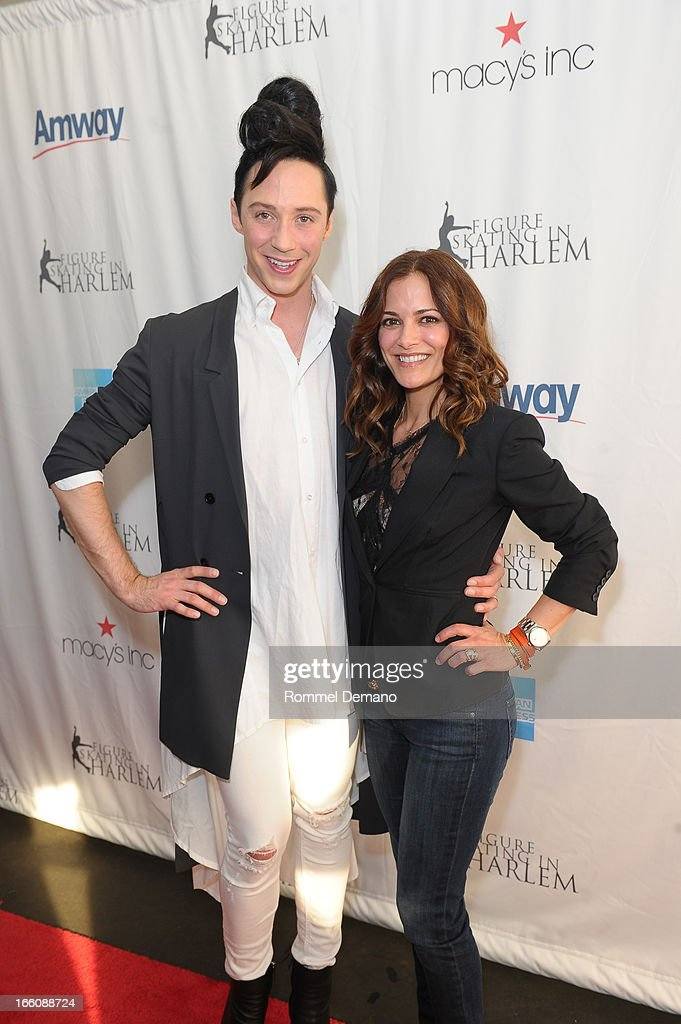 <a gi-track='captionPersonalityLinkClicked' href=/galleries/search?phrase=Johnny+Weir&family=editorial&specificpeople=208701 ng-click='$event.stopPropagation()'>Johnny Weir</a> and <a gi-track='captionPersonalityLinkClicked' href=/galleries/search?phrase=Rebecca+Budig&family=editorial&specificpeople=206682 ng-click='$event.stopPropagation()'>Rebecca Budig</a> attend The 2013 Skating With The Stars Benefit Gala at Trump Rink at Central Park on April 8, 2013 in New York City.