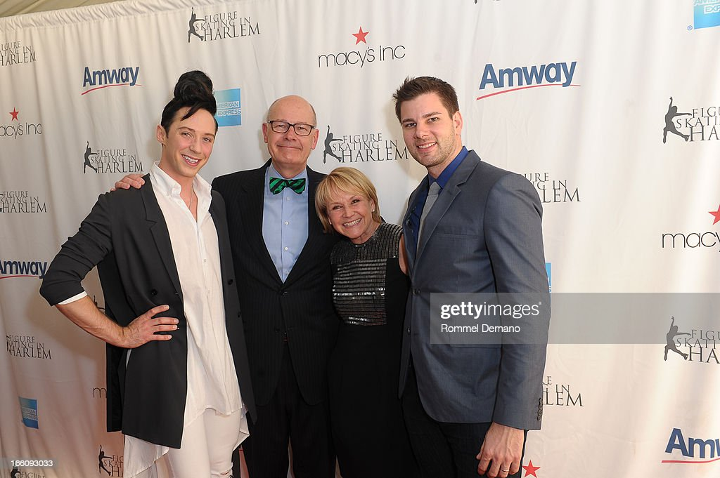 <a gi-track='captionPersonalityLinkClicked' href=/galleries/search?phrase=Johnny+Weir&family=editorial&specificpeople=208701 ng-click='$event.stopPropagation()'>Johnny Weir</a>, <a gi-track='captionPersonalityLinkClicked' href=/galleries/search?phrase=Harry+Smith+-+Journalist&family=editorial&specificpeople=214180 ng-click='$event.stopPropagation()'>Harry Smith</a>, Andrea Joyce and <a gi-track='captionPersonalityLinkClicked' href=/galleries/search?phrase=Tim+Morehouse&family=editorial&specificpeople=3025609 ng-click='$event.stopPropagation()'>Tim Morehouse</a> attend The 2013 Skating With The Stars Benefit Gala at Trump Rink at Central Park on April 8, 2013 in New York City.