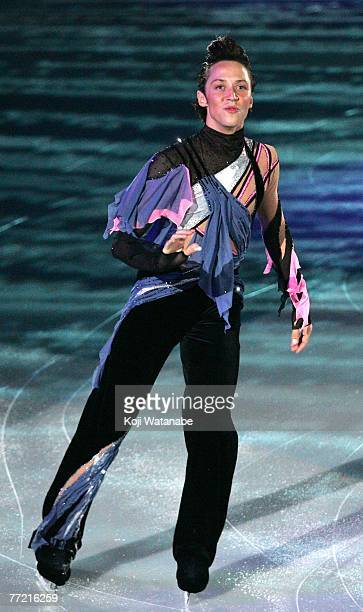 Johnny Weir of the USA performs in an exhibition program during the International Counter Match Figure Skating Competition USA vs JPN 2007 Yokohama...