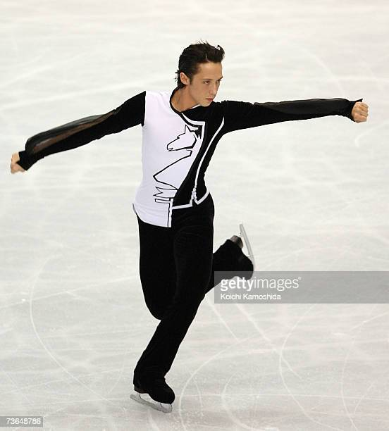 Johnny Weir of USA skates during the Men's Short Program during the World Figure Skating Championships at the Tokyo Gymnasium on March 21 2007 in...