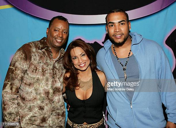Johnny Wright Gloria B and Don Omar during MTV Tr3s 'Road to Menudo' New York Casting Call at Queens Center Mall in Queens New York United States