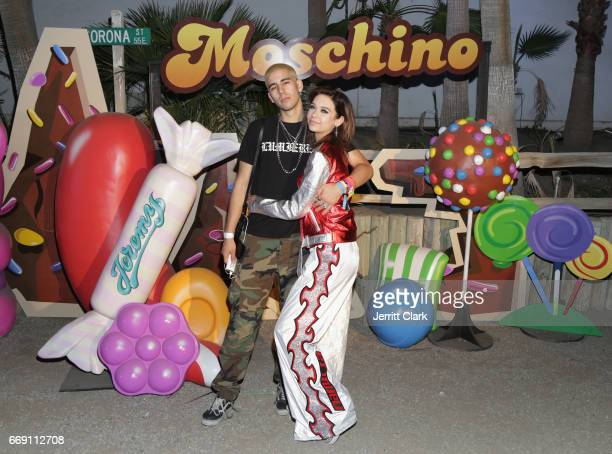 Johnny Zallez and Amanda Steele attend the Moschino Candy Crush Desert Party hosted by Jeremy Scott on April 15 2017 in Coachella California