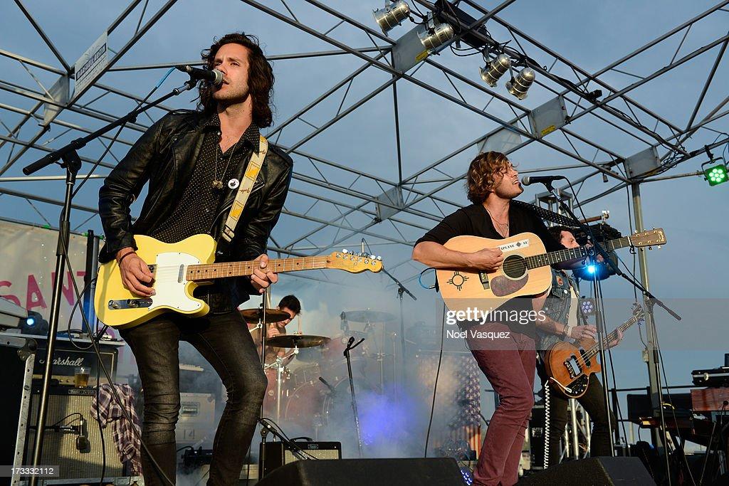 Johnny Zambetti (L) and Ben Rothbard of Terraplane Sun perform at KCRW's Twilight Concert Series on July 11, 2013 in Santa Monica, California.