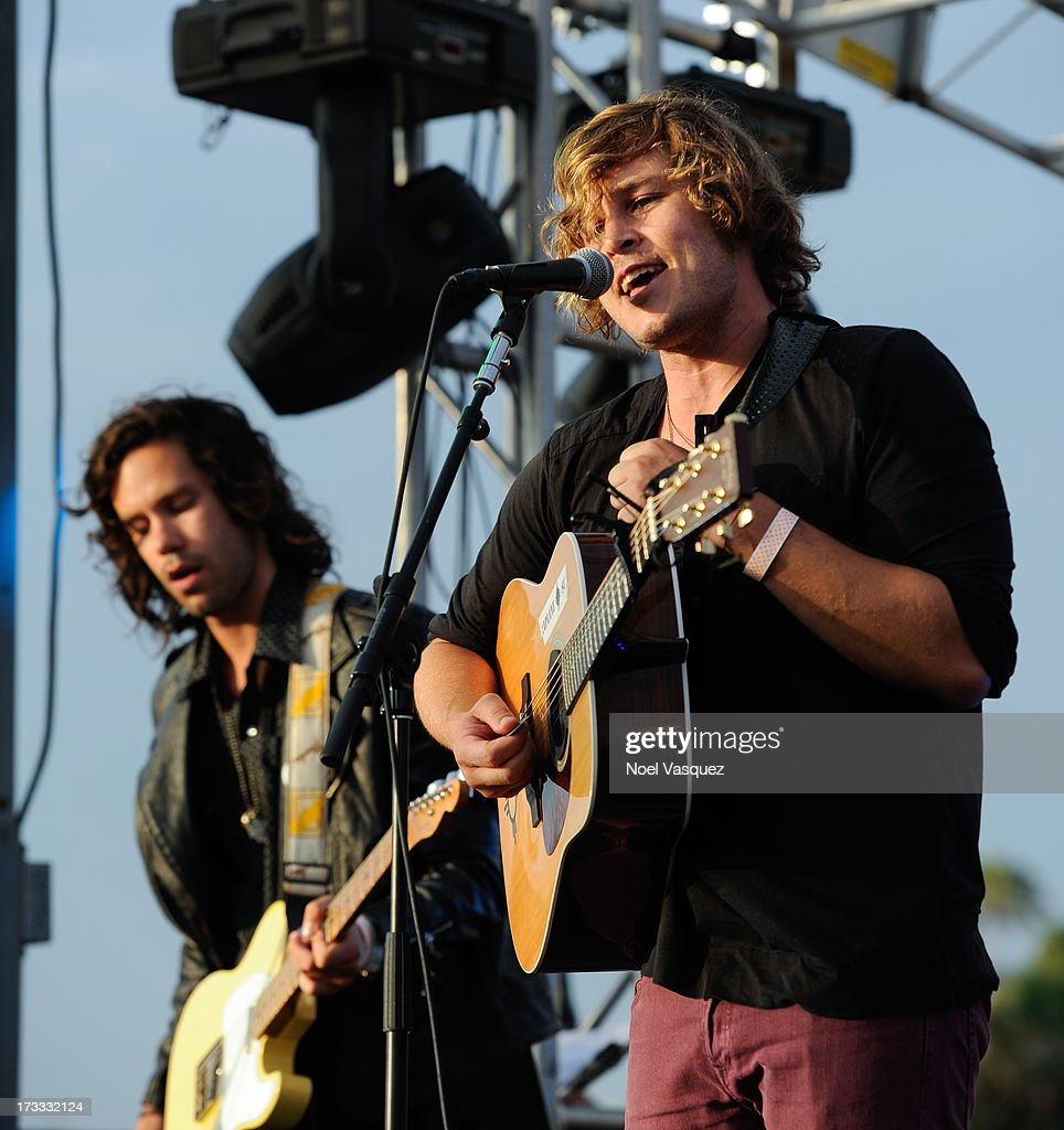 Johnny Zambetti (L) and Ben Rothbard of Terraplane Sun perform at KCRW's Twilight Concert Series on July 11, 2013 in Santa Monica, California.