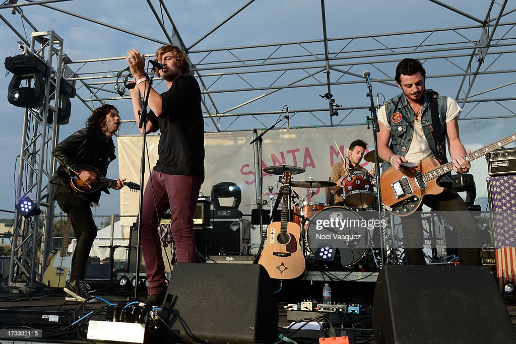 Johnny Zambetti, Ben Rothbard, Cecil and Lyle Riddle of Terraplane Sun perform at KCRW's Twilight Concert Series on July 11, 2013 in Santa Monica, California.