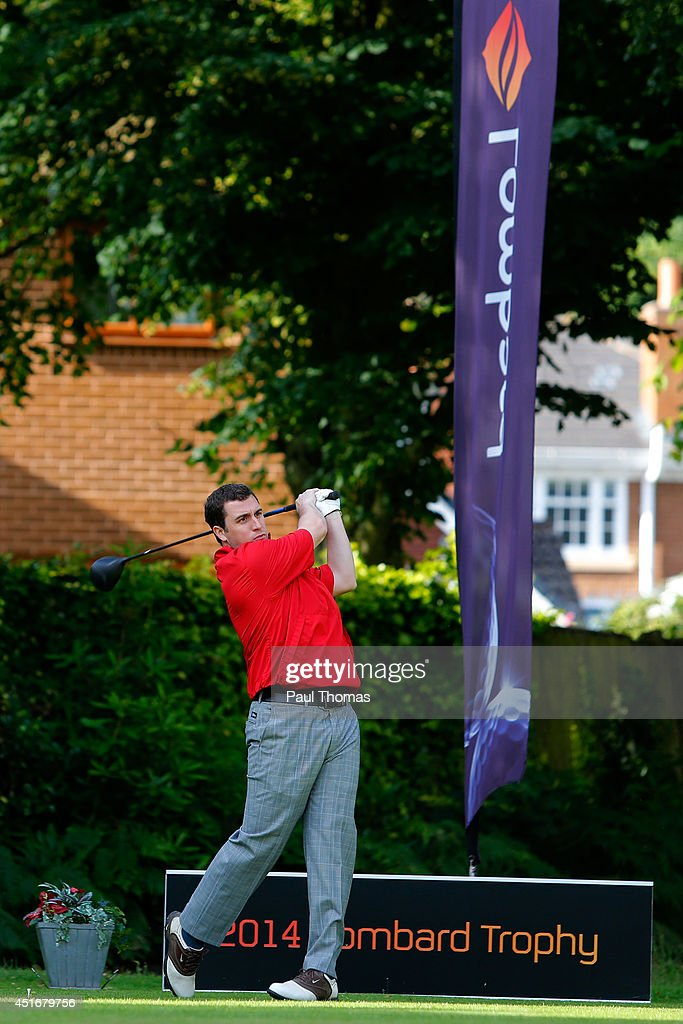 John-Paul Allen of Mickleover Golf Club tees off during The Lombard Trophy Midland Regional Qualifier at Little Aston Golf Club on July 4, 2014 in Sutton Coldfield, England.