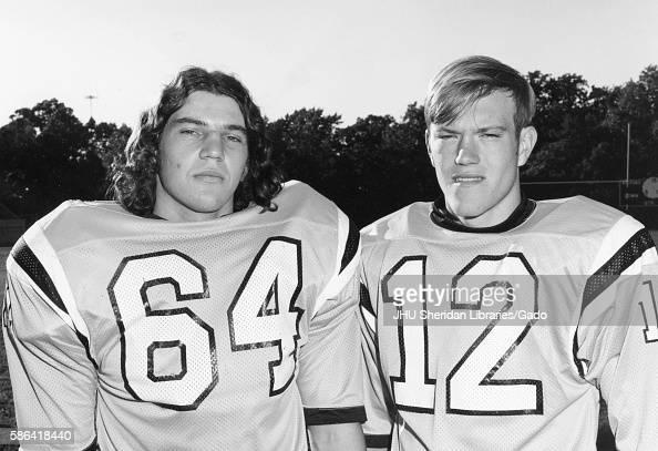 Johns Hopkins University football cocaptains linebacker Gunter Glockner and quarterback Jack Thomas 1973