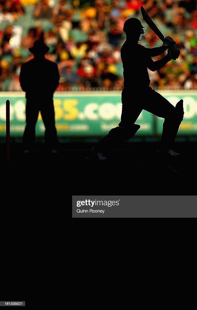 Johnson Charles of the West Indies bats during game five of the Commonwealth Bank International Series between Australia and the West Indies at Melbourne Cricket Ground on February 10, 2013 in Melbourne, Australia.