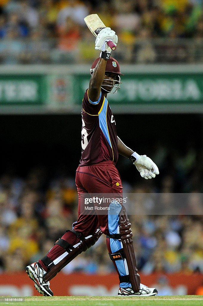 Johnson Charles of the West Indies celebrates his half century during the International Twenty20 match between Australia and the West Indies at The Gabba on February 13, 2013 in Brisbane, Australia.