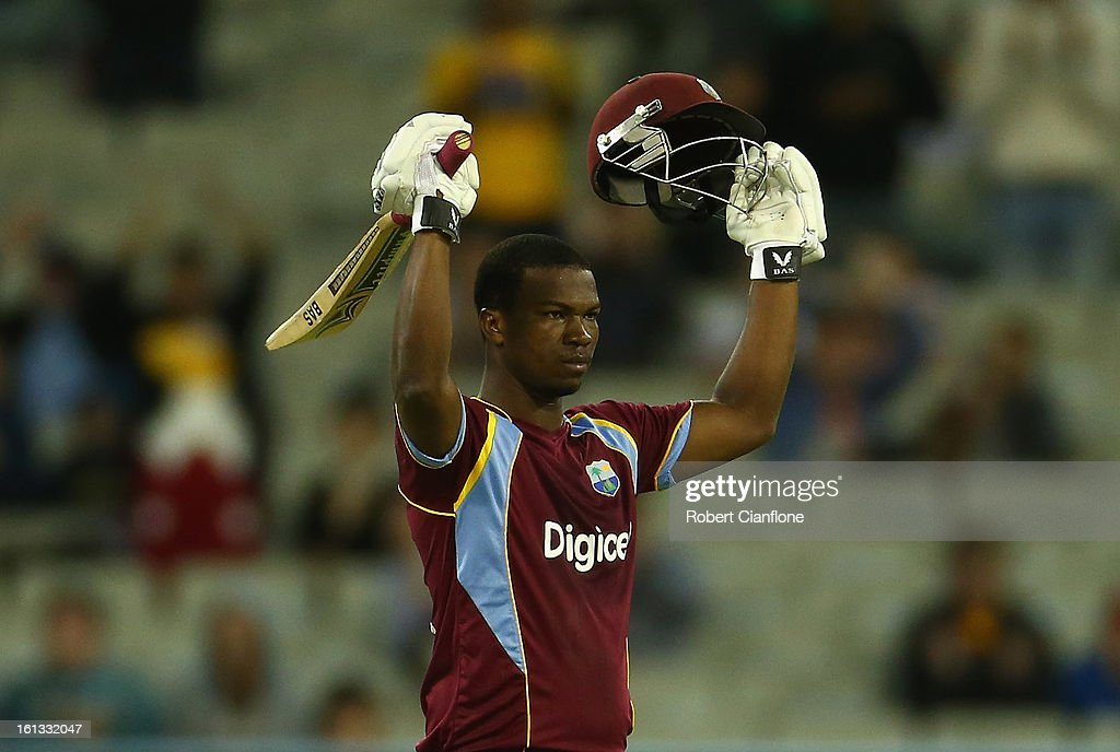 Johnson Charles of the West Indies celebrates scoring his century during game five of the Commonwealth Bank International Series between Australia and the West Indies at the Melbourne Cricket Ground on February 10, 2013 in Melbourne, Australia.
