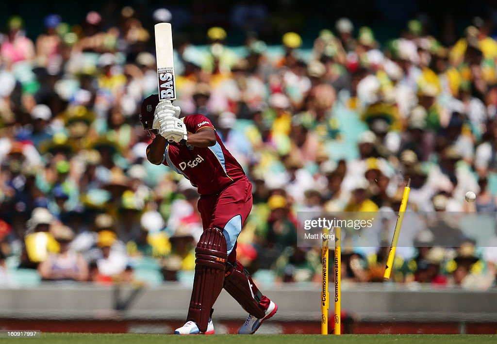 Johnson Charles of West Indies is bowled by Mitchell Johnson of Australia during game four of the Commonwealth Bank One Day International Series between Australia and the West Indies at Sydney Cricket Ground on February 8, 2013 in Sydney, Australia.