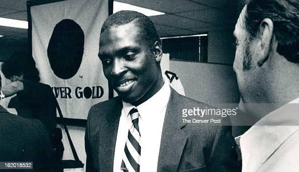 JAN 14 1982 Johnson Demitrius Ind Football Demitrius Johnson first round draft choise for the Denver Gold after press Conference At Denver Gold...