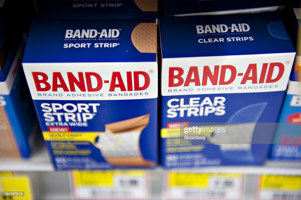 Johnson & Johnson Band-Aid brand bandages sit on display in a supermarket in Princeton, Illinois, U.S., on Friday, Oct. 12, 2012. Johnson & Johnson is scheduled to release earnings data on Oct. 16. Photographer: Daniel Acker/Bloomberg via Getty Images