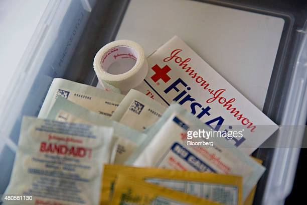 Johnson Johnson first aid products are arranged for a photograph in Tiskilwa Illinois US on Thursday July 2 2015 Johnson Johnson is expected to...