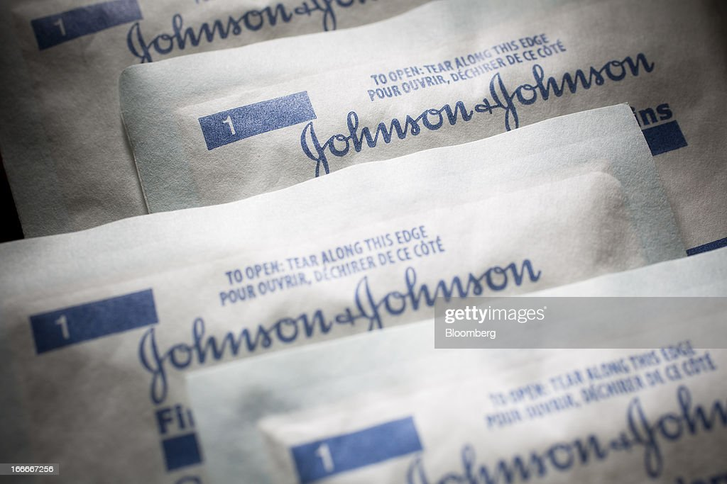 Johnson & Johnson gauze pads are arranged for a photograph in New York, U.S., on Monday, April 15, 2013. Johnson & Johnson is scheduled to release earnings data on April 16. Photographer: Scott Eells/Bloomberg via Getty Images