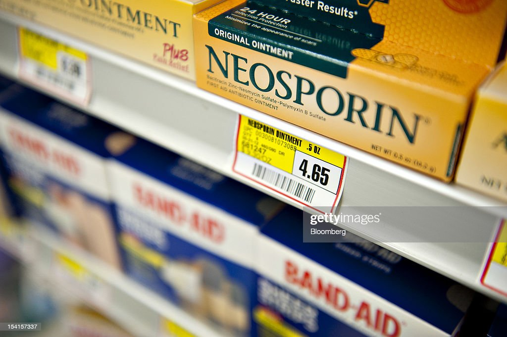 Johnson & Johnson Neosporin brand ointment sits on display in a supermarket in Princeton, Illinois, U.S., on Friday, Oct. 12, 2012. Johnson & Johnson is scheduled to release earnings data on Oct. 16. Photographer: Daniel Acker/Bloomberg via Getty Images