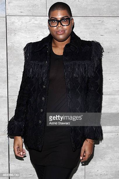 Johnson poses backstage at the Charlotte Ronson fashion show during MercedesBenz Fashion Week Fall 2015 at The Pavilion at Lincoln Center on February...