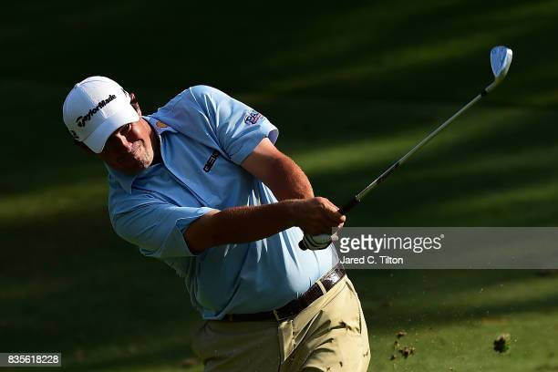 Johnson Wagner plays his second shot on the 17th hole during the third round of the Wyndham Championship at Sedgefield Country Club on August 19 2017...