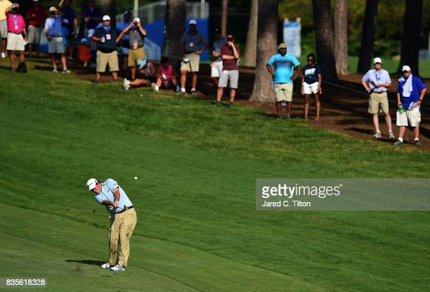 Johnson Wagner plays his second shot on the 18th hole during the third round of the Wyndham Championship at Sedgefield Country Club on August 19 2017...