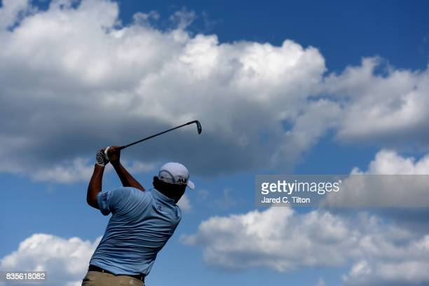 Johnson Wagner plays his tee shot on the 16th hole during the third round of the Wyndham Championship at Sedgefield Country Club on August 19 2017 in...