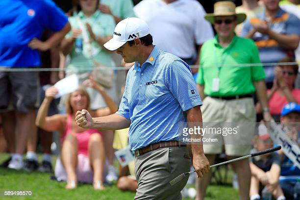 Johnson Wagner reacts to his birdie on the fifth green during the final round of the John Deere Classic at TPC Deere Run on August 14 2016 in Silvis...