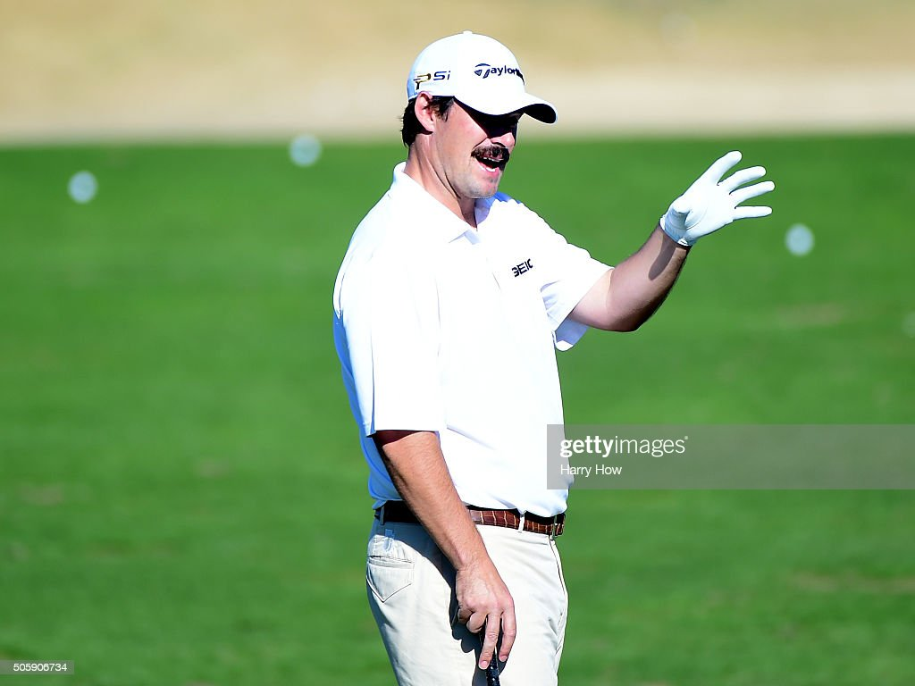 Johnson Wagner talks on the driving range during preview for the CarerrBuilder Challenge In Partnersihip With The Clinton Foundation at the TPC Stadium Course at PGA West on January 20, 2016 in La Quinta, California.