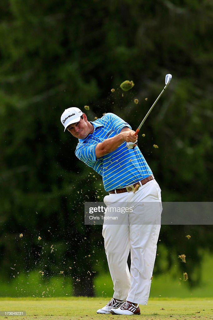 Johnson Wagner watches his tee shot on the third hole during round two of the Greenbrier Classic at the Old White TPC on July 5, 2013 in White Sulphur Springs, West Virginia.
