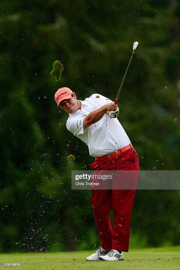 Johnson Wagner watches his tee shot on the third hole during the final round of the Greenbrier Classic at the Old White TPC on July 7, 2013 in White Sulphur Springs, West Virginia.