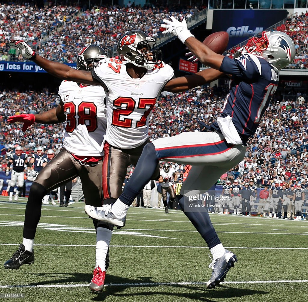 Johnthan Banks #27 of the Tampa Bay Buccaneers is called for pass interference on <a gi-track='captionPersonalityLinkClicked' href=/galleries/search?phrase=Aaron+Dobson&family=editorial&specificpeople=6336020 ng-click='$event.stopPropagation()'>Aaron Dobson</a> #17 of the New England Patriots during the first half at Gillette Stadium on September 22, 2013 in Foxboro, Massachusetts.
