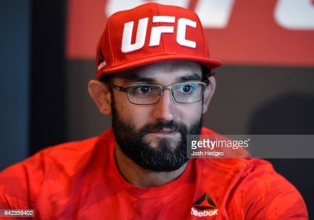 Johny Hendricks answers questions from reporters during the UFC Ultimate Media Day at the Halifax Marriott Harbourfront on February 17 2017 in...
